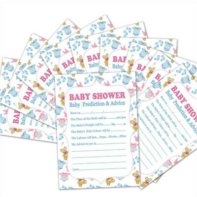 10PCS A5 Baby Shower Prediction Game Sheet Advice Suggest Card Party Supplies