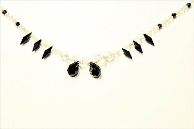 Art Deco Black & Clear Glass Beads Drop Vintage Statement Necklace (c1930s)