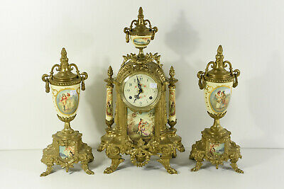 Set French Porcelain victorian clock Vases urns