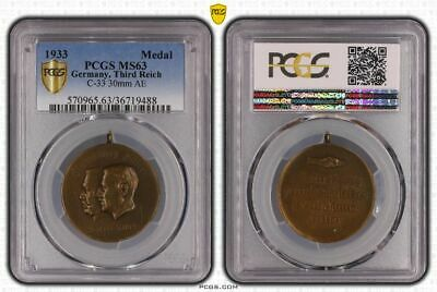 Third Reich 1933 Hindenburg for a united Germany PCGS MS63 C-33 brass Medal 30mm