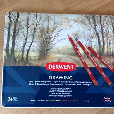 Derwent Colouring / Coloured Highly Lightfast Drawing Pencils 24 Brand New Tin