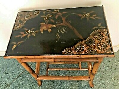 19c Antique Chinoiserie Asian Jappaning Bamboo Side Table