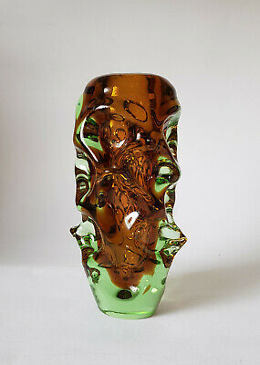 VASE Glas Czech 60er 70er Skrdlovice Bohemia Jan Beranek Glass