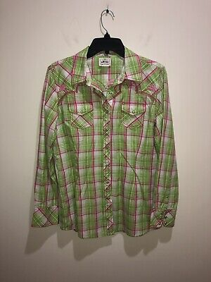 4b7f95c2 ARIAT Women's Top Size L Fitted Plaid Western Pearl Snap Button Front Blouse