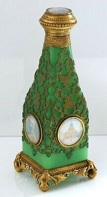 Antique 19th Century French Green Opaline Grand Tour Large Scent Bottle–5 Scenes