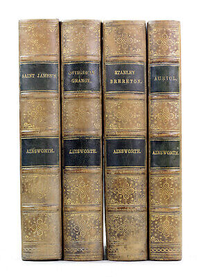 1880s Old Antique 19th Century Novels William Harrison Ainsworth Leather Bound