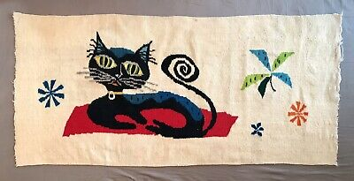 Mid Century Ackerman Era Cat Tapestry Woven Wool Textile Wall Hanging Art