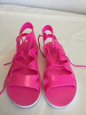 Next Girl's Pink Jelly Plastic Shoes / Sandals Size 2  (****)