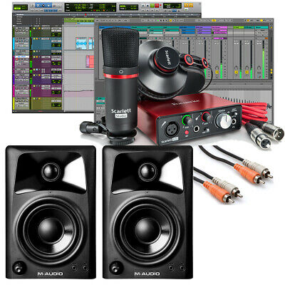 Focusrite Scarlett Solo Studio 2nd Pro Tools Home Recording Bundle + Monitors