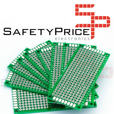 2 Plates Prototyping Double Sided 3x7cm Double-Side Prototype PCB Fibre Glass Sp