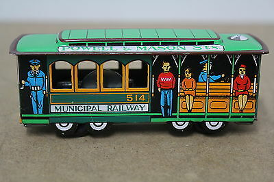 Vintage Japan Trolley Car Powell & Mason Municipal 514 Railway Friction Tin Blec
