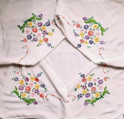 Stunning Hand Embroidered Vintage White Linen Tablecloth Long Stitch Flowers
