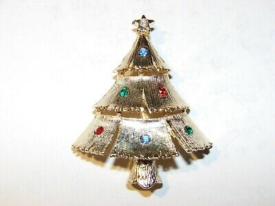 7c7536eed VINTAGE SIGNED JJ Gold Tone Christmas Tree Pin Brooch - $2.99 | PicClick