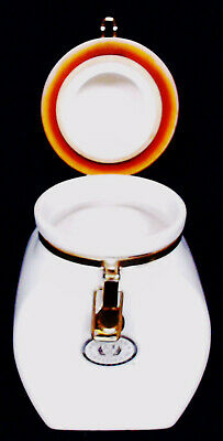 "European Coffeehouse Ceramic Clamp Top 8"" Tall White & Gold Canister Jar ~ Vguc"