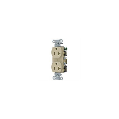 Pack of 10 Hubbell BR20I Receptacle, Duplex Straight Blade, Ivory