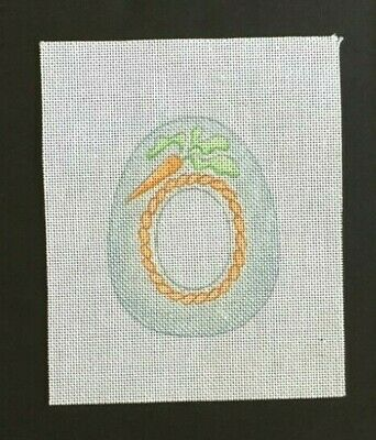 Strictly Christmas Hand-painted Needlepoint Canvas Pastel Sugar Egg With Carrot