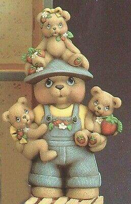 """Ceramic Bisque Hand-Painted Papa Strawberry Teddy Bear Boy, 13"""" Tall"""