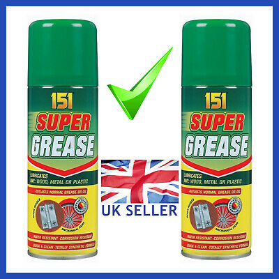 2 x Super Grease Spray Aerosol Lubricate Can Oil Corrosion Water Resistant 150ml