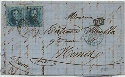 BELGIUM: 1865 20c Examples on Entire to France - PD Cachet, Paris Cancel (24128)