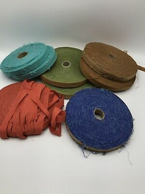 8 Rolls Lot Vintage Strip Cut 100% Cotton Spools, Old Factory Inventory