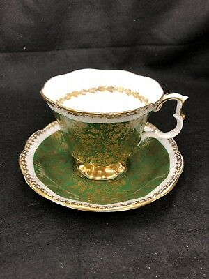 Royal Albert Tea Cup & Saucer Buckingham Series Dark Green Gold Flowers Scrolls