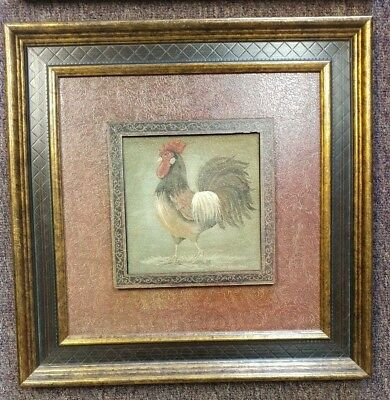 "Two Rooster Chicken Wall Canvas 15.5""x 15.5"" SquareWood  And Metal Finish"