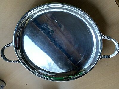 Silver Plated Circular Round 2 Handled Tea Set Serving Tray