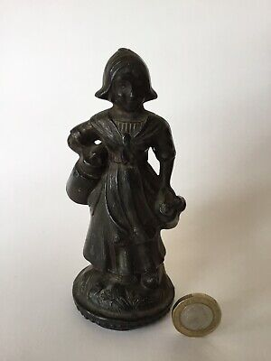 Nice Antique Netherlands Milk Girl Figurine Statue Cast From Pewter? Late 19th C