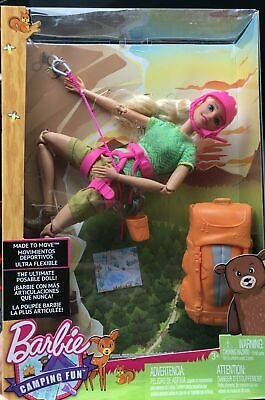 Camping Fun Barbie Made To Move Ultra Flexible Posable Rock Climbing Doll NEW!!!