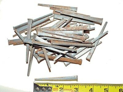 "ONE POUND Lot Of Square Cut Authentic Vintage Steel 3"" Inch Nails THREE INCH"