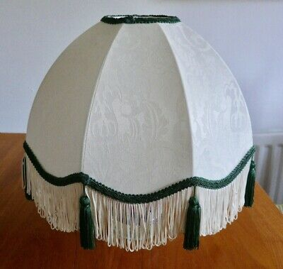 Vintage Victorian style Downton Abbey green ivory damask lampshade