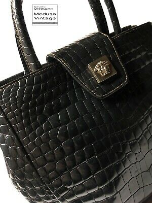 c8240ab9f2 Gianni Versace Couture Vintage '98 Genuine Crocodile Leather Handbag Medusa