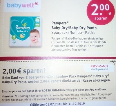 13× Pampers Baby-Dry / Baby-Dry Pants Rossmann Coupon Gutschein