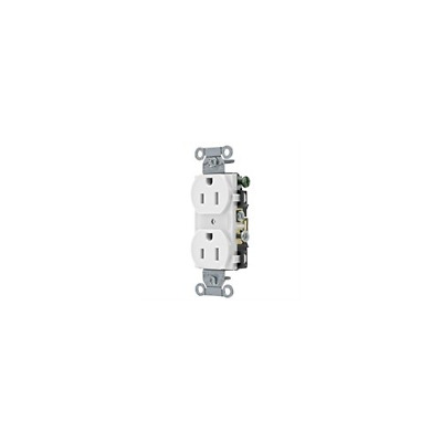 Pack of 10 Hubbell CR15WHI Receptacle, Duplex, 15A, 5-15R, 125V, White