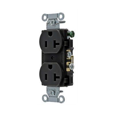 Pack of 10 Hubbell CR20BLK Duplex Receptacle, 20A, 5-20R, 125V, Black