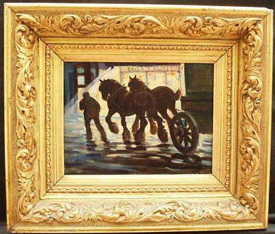 c1910 BRITISH IMPRESSIONIST HORSES LONDON BY NIGHT Antique Oil Painting