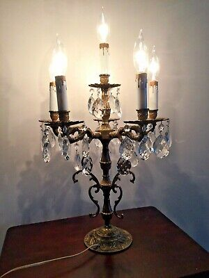 ANTIQUE/Vintage BRONZE or brass Electric CANDELABRA TABLE LAMP with CRYSTALS