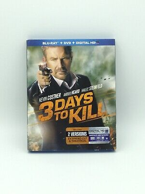 3 Days to Kill-2 Disc Set-Kevin Costner (Blu-ray & DVD, 2014)