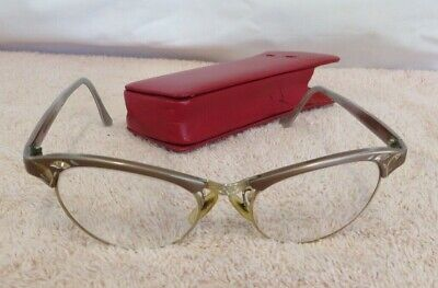Vintage Artcraft Aluminum Cat Eye Ladies Eyeglasses w/ Red Leather Case