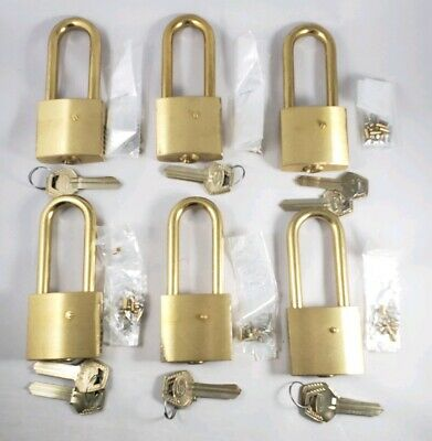 Lot of (6) Vintage Unused NOS Corbin Brass Padlocks