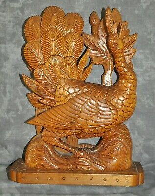 "Peacock Vintage Antique Heavy Ornate Wooden Finely Carved Peacock 9"" x 11"""