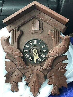AUGUST SCHWER Black Forest German Carved Cuckoo Clock No Weights