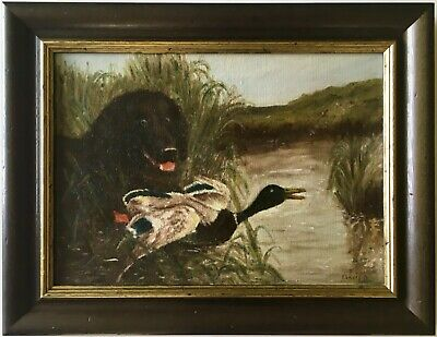 Antique Primitive 1840s Early American Oil Painting Hunting Sporting Dog Duck