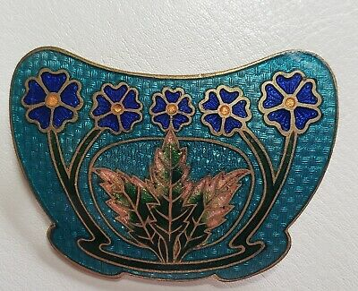 Stunning Large Art Nouveau Antique Maple Leaf Enamel Brass Guilloche Brooch Pin