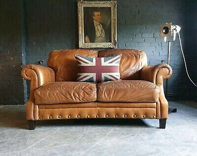 5018.Chesterfield Brown tan Leather vintage 2 Seater Sofa DELIVERY AVAILABLE **