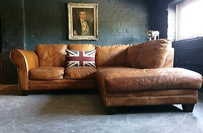 5013.Chesterfield Vintage tan 3 Seater Leather Club Corner sofa DELIVERY AV **