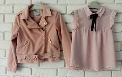 Next Bundle Outfit Blouse And Suede Bomber Jacket Age 8 Y *I'll combine postage