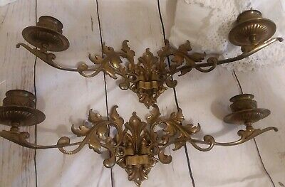 Vintage Solid Brass Pair Wall Mounted Candle Holders Double Arm Sconces ORNATE