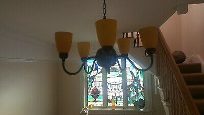 5 arm  Lovely Vintage Georgian Style wood and brass Chandeliers Glass Shades