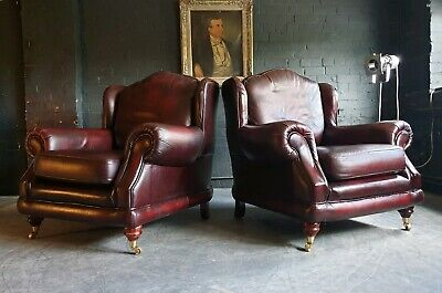 300.Pair of Thomas Lloyd Red Oxblood Chesterfield Leather Armchairs DELIVERY AV*